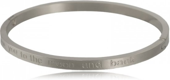 "BY-ST6 Bangle Armband met tekst ""Love you to the moon and back"" kleur Zilver!"