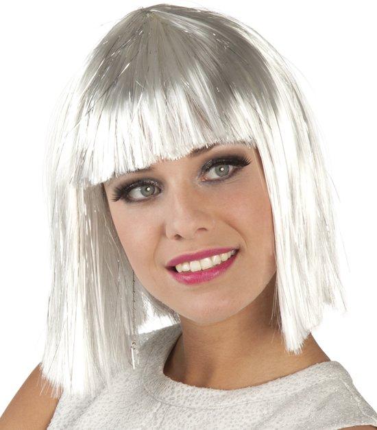 12 stuks: Pruik Gigi glamour - wit met zilveren tinsel