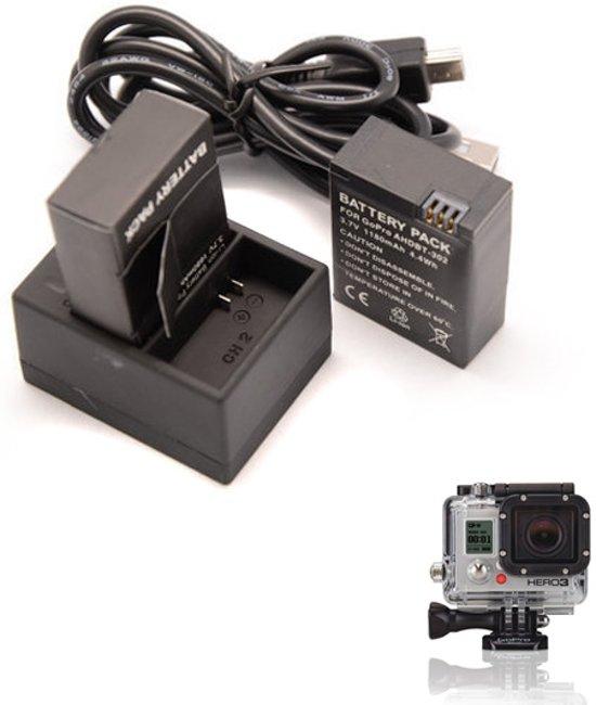 Qatrixx GoPro Batterij lader 1.6A Snel lader voor 2 batterijen