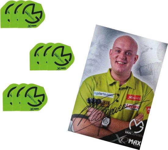 Michael van Gerwen - dartflights - zwart/groen 3 Sets (9 stuks)  Met gesigneerdeMvG Kaart