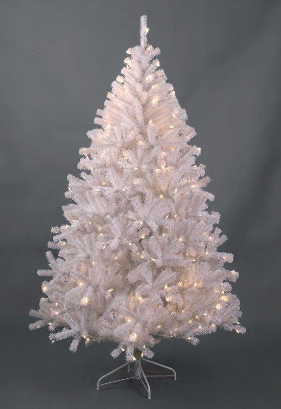 witte kunstkerstboom maine pvc lengte 180 cm met 200 warm led lampjes 847