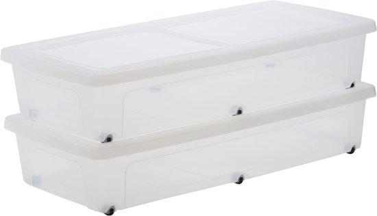 Iris clearbox onder het bed opbergbox 35 l kunststof transparant met zwarte wielt - Bed na capitonne zwarte ...