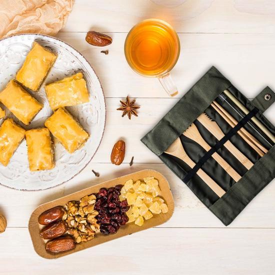 Bamboe Bestek Set - Herbruikbaar Bestek - Duurzaam - Camping Bestek - Reis Bestek - Bamboe Servies - Gratis Bamboe Tandenborstel - Bamboe