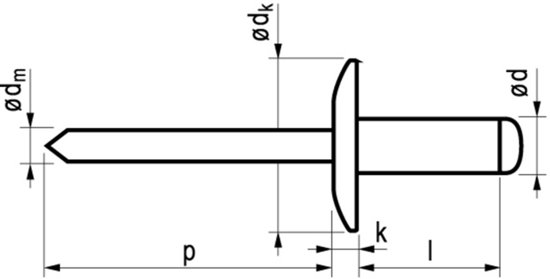 Popnagel Alu/Stl 1033 Xgr Kop 4,8X12 250