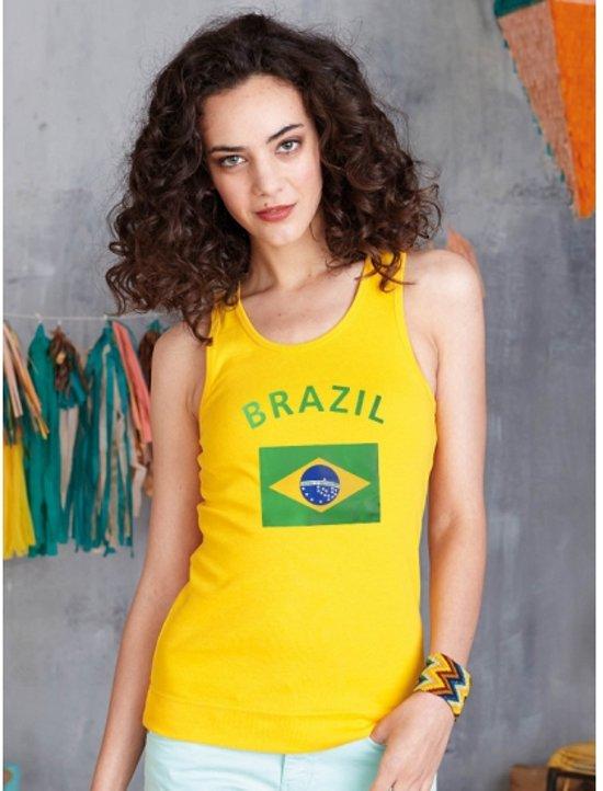 Gele dames tanktop vlag Brazil L