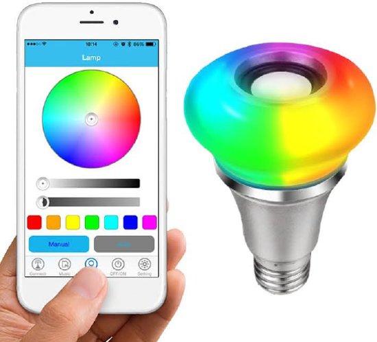 REMOTE-CONTROLLED MUSIC LED-LAMP – MET AFSTANDSBEDIENINGSPANEEL – 5W RGB+ 3W BLUETOOTH SPEAKER - Pakket 1 stuk