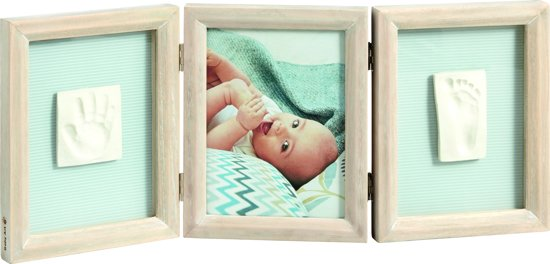 Baby Art Double Print Frame White Stained Wood - 2016