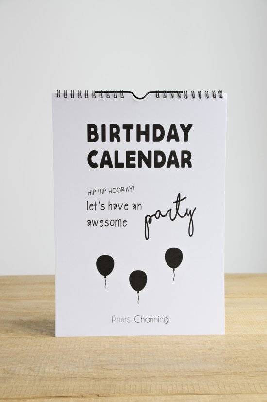 Verjaardagskalender - zwart wit - Prints Charming