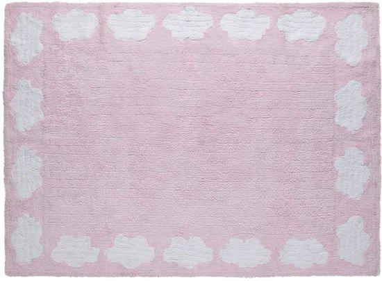 Vloerkleed kinderkamer wolkjes roze 160x120 cm - Roze kinderkamer ...