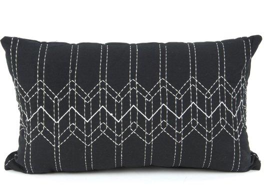 Pt Sierkussen Stitched Flow - Black with Mouse grey