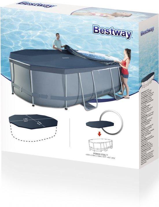 Bestway Cover Levant 424 Ovaal 424 X 250 X 100 Cm Grijs
