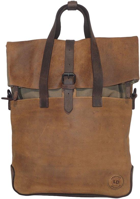 Schoudertas Leather Design Leer Rugzak Canvas Handtas M Met q67fEw6x