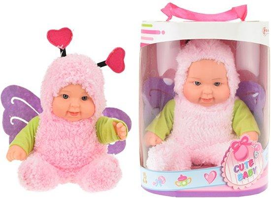 CUTE BABY Babypop met dierenpakje vlinder 22.5cm