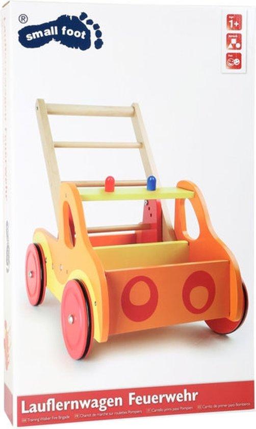 Houten loopauto Brandweer brigade - met laadbakje - opvallende kleuren
