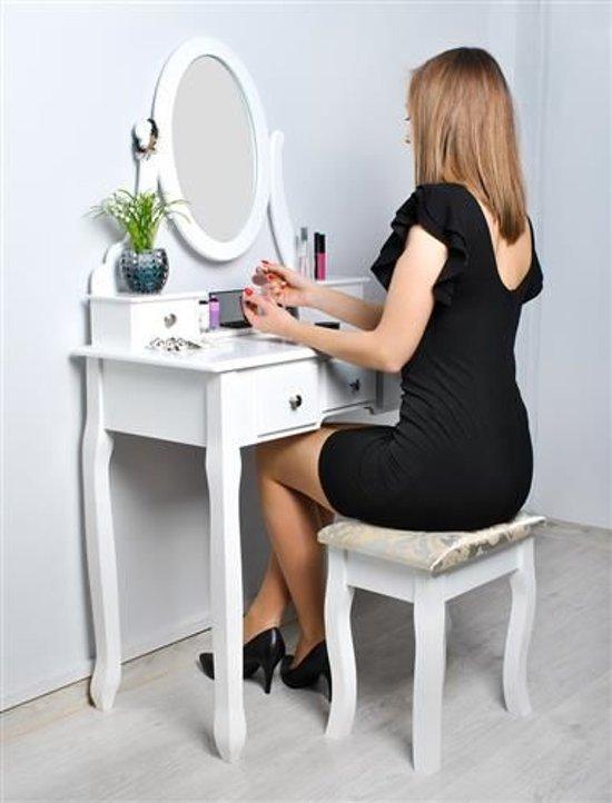 Klassieke Make-Up Cosmetica Visagie Tafel - Meisjes Toilettafel Kaptafel Met Spiegel En Kruk Stoel - Opmaaktafel Hout - Wit