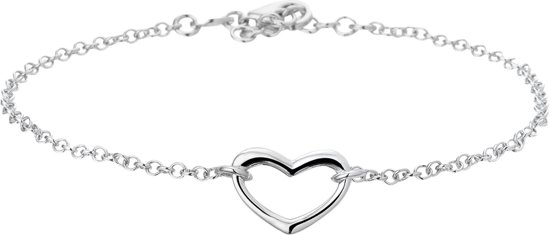 The Jewelry Collection Armband Hart 2,0 mm 17 + 2 cm - Zilver Gerhodineerd