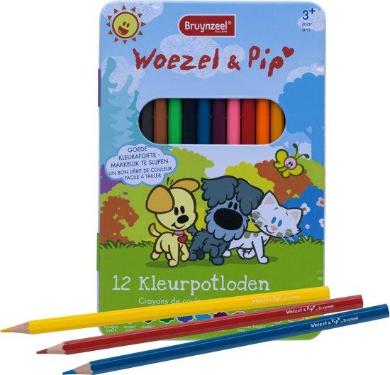 Bruynzeel Woezel & Pip   Kleurpotloden in blik (12 kleuren)