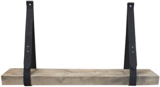 Leren plankdragers zwart met Balkhout