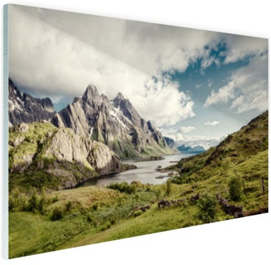 Berggebied Glas 120x80 cm - Foto print op Glas (Plexiglas wanddecoratie)