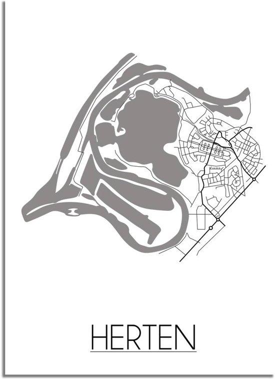 DesignClaud Herten Plattegrond poster A4 + Fotolijst wit