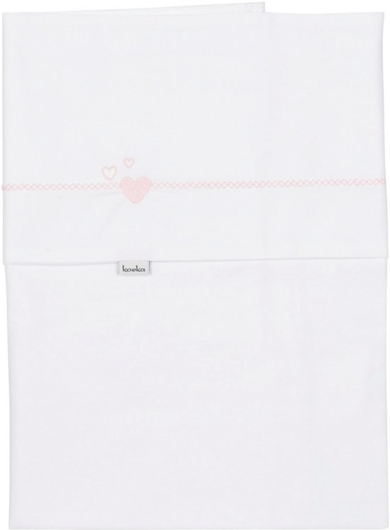 Koeka Wieglaken Lots of love 80x100 cm - white/baby pink