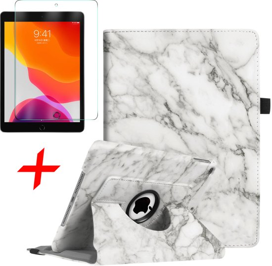iPad 10.2 (2019) Hoes + Screenprotector - 360 Graden Draaibaar Book Case Cover Leer - iCall - Marmer