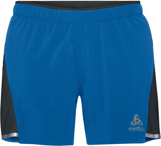Odlo Hardloopbroek Zeroweight Ceramicool 2-In-1 Shorts - Energy Blue - Black - XL