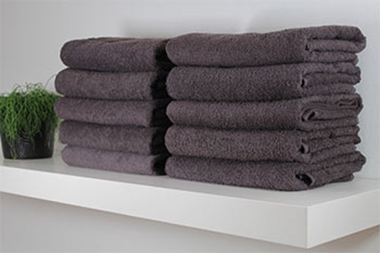 Hotel handdoek - antraciet - set van 6 stuks - 70x140 cm