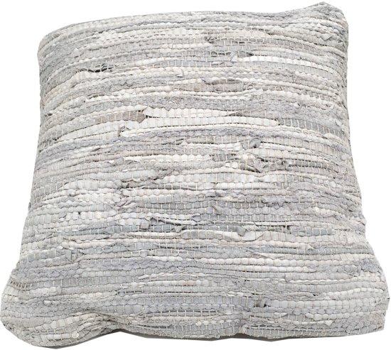 68cd5bd7ad8 Rocaflor kussen geweven gerecycled leer wit wittinten dubbelzijdig  inclusief binnenkussen 45x45 cm