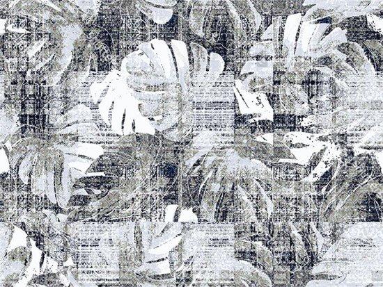 Bol vinyl vloerkleed leaves zwart wit cm