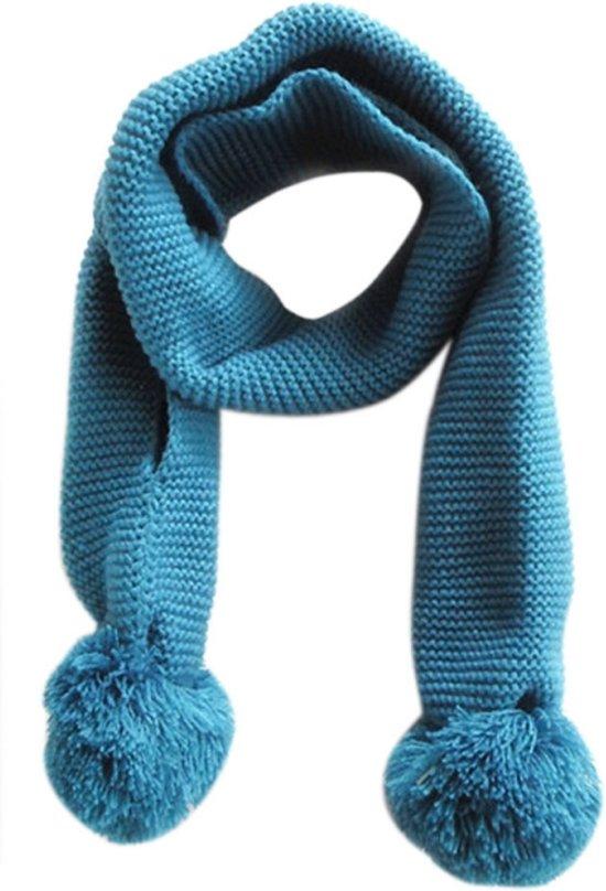 gebreide sjaal met pompons blauw