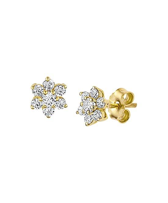 The Jewelry Collection Oorknoppen Zirkonia - Geelgoud (14 Krt.)