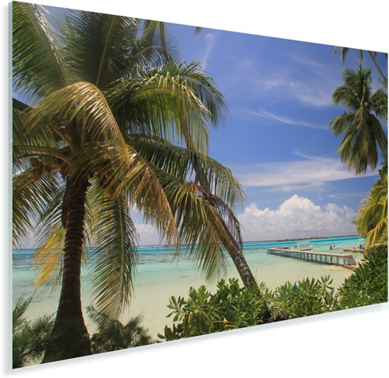 De pier over de zee op Moorea dichtbij Tahiti in Frans Polynesië Plexiglas 30x20 cm - klein - Foto print op Glas (Plexiglas wanddecoratie)