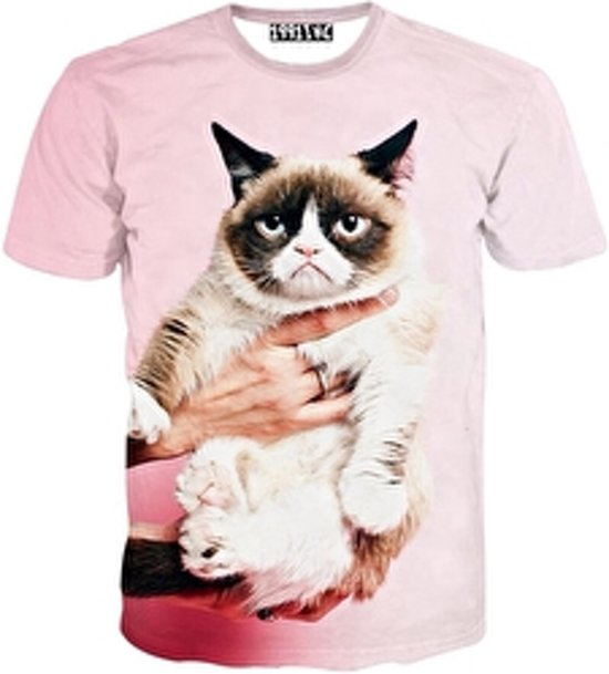 Grumpy cat roze festival shirt Maat M Crew neck