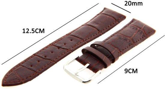Horlogeband - Echt Leer - 20mm Donker Bruin - Krokodillen Patroon - Sarzor