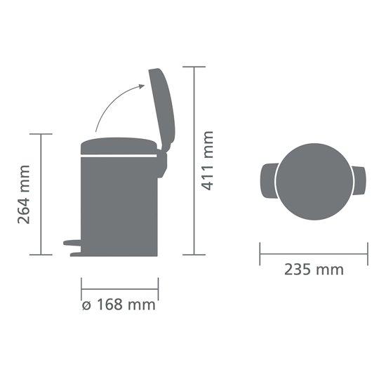 Brabantia NewIcon Pedaalemmer 3 Liter Mat Zwart
