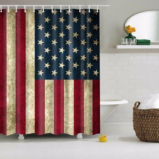 Douchegordijn Amerikaanse vlag - Decoreer uw badkamer met deze unieke vlag van de USA - 150x180