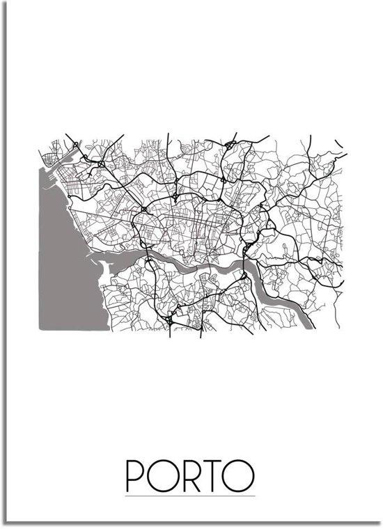 DesignClaud Porto Plattegrond poster A4 + Fotolijst wit