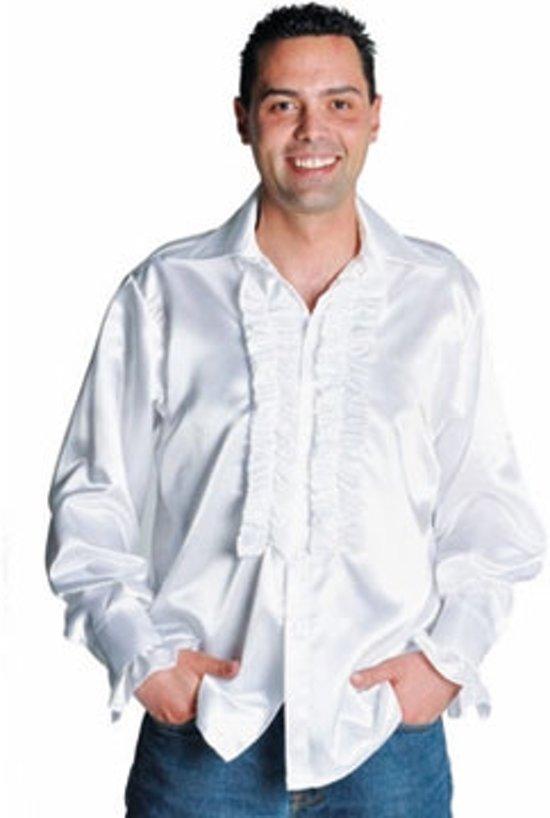 e3cf800b205 Witte satijnen soul blouse met rouches - Disco verkeedkleding heren maat S/M