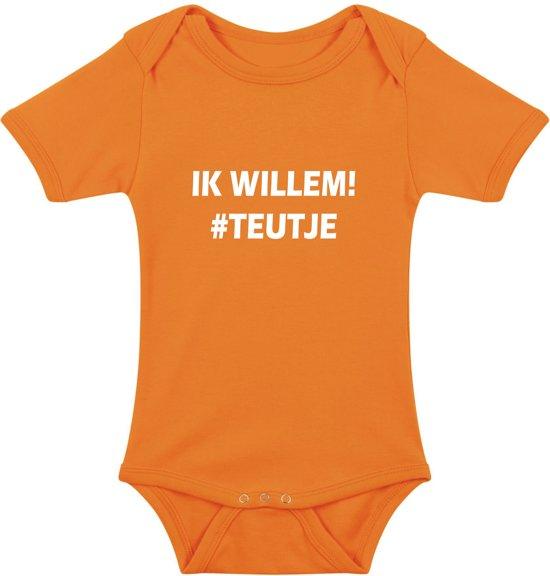 Baby rompertje Ik Willem #Teutje | Korte mouw 74/80 oranje