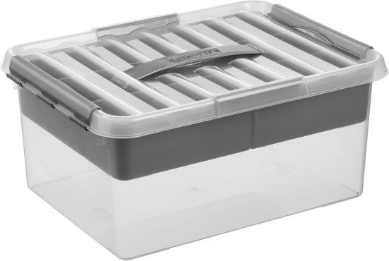 Sunware Q-line Multibox 15L - met inzet met vakverdeling - transparant/metallic