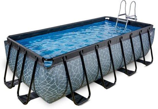 Exit zwembad stone 400x200cm met filterpomp grijs for Zwembad rechthoekig met pomp