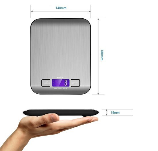 Digitale Precisie Keukenweegschaal RVS - met Tarra Functie - Tot 5 kg - INCLUSIEF Batterijen - Siston - Exclusief design - Multifunctioneel weegschaal voor het wegen van voeding,juwelen en post! Met Luxe LCD scherm