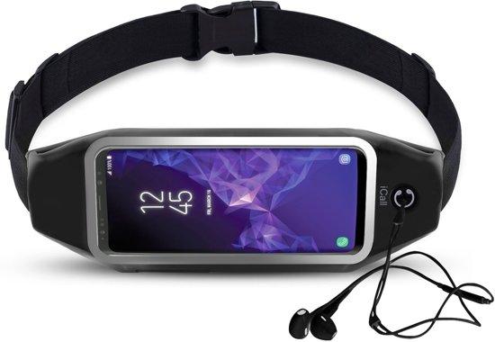 Running Belt Heupband Sportriem Hardloop Band Zwart – Riem met Smartphone Houder voor Fitness – Universeel voor alle telefoons (Samsung, Huawei, Apple) - van iCall