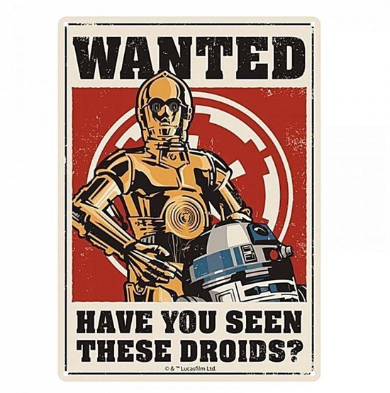 STAR WARS DROIDS - TIN SIGN SMALL Tin Sings
