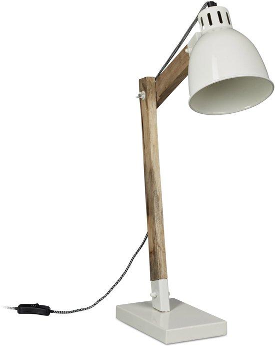 relaxdays bureaulamp hout scandinavisch retrostijl burolamp tafellamp