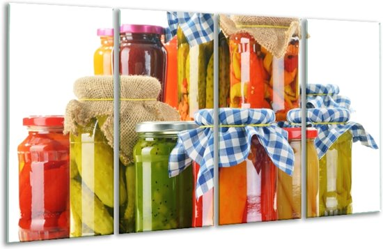 Glas schilderij Keuken, Groenten | Wit, Rood, Groen | 160x80cm 4Luik | Foto print op Glas |  F007102