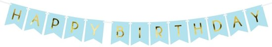 Slinger 'Happy Birthday' Lichtblauw Goud - 2.5 Meter
