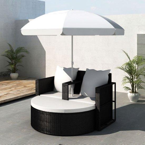Hangstoel Met Parasol.Bol Com Vidaxl Loungebed Set Met Parasol Wicker Zwart