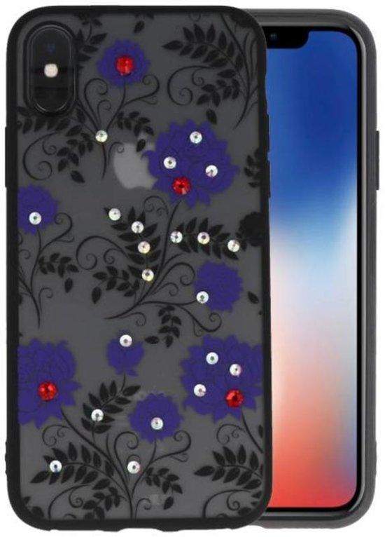 Diamant Lotus Hoesjes Cases voor iPhone X Paars